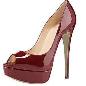 Peep Toe Pumps Platform Thin Heel Stiletto Sandals